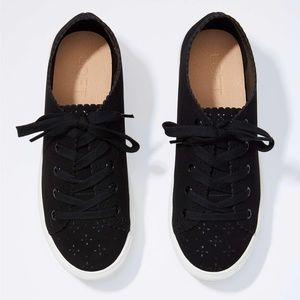 Loft Black Eyelet Lace Up Sneakers sz. 7.5
